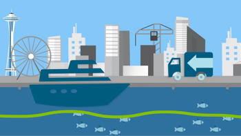 Illustration of Seattle waterfront with skyline and a ferry