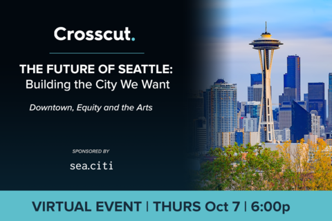 The Crosscut logo, event title, sea citi logo and event details appear against a blue backdrop on the left side of the graphic. The space needle and other Seattle buildings appear on the right.